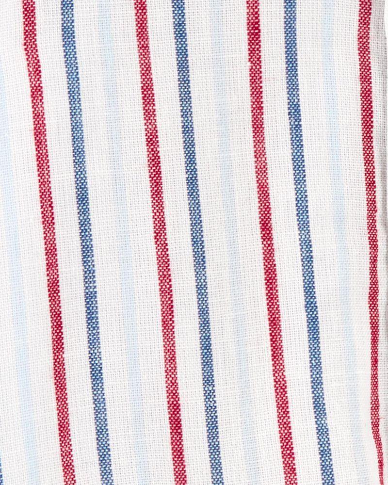 Striped Linen Button-Front Bodysuit, , hi-res