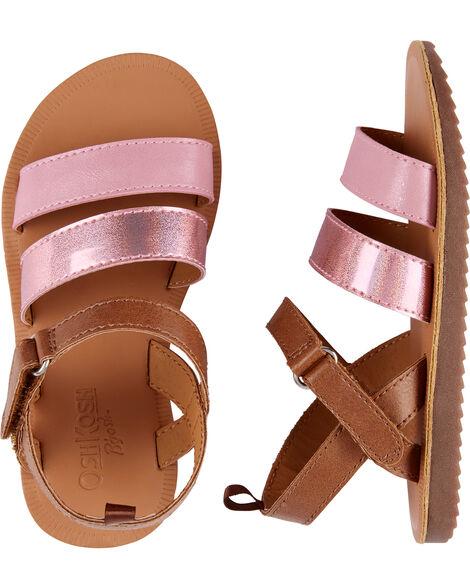 Sandales d'aspect métallique rose