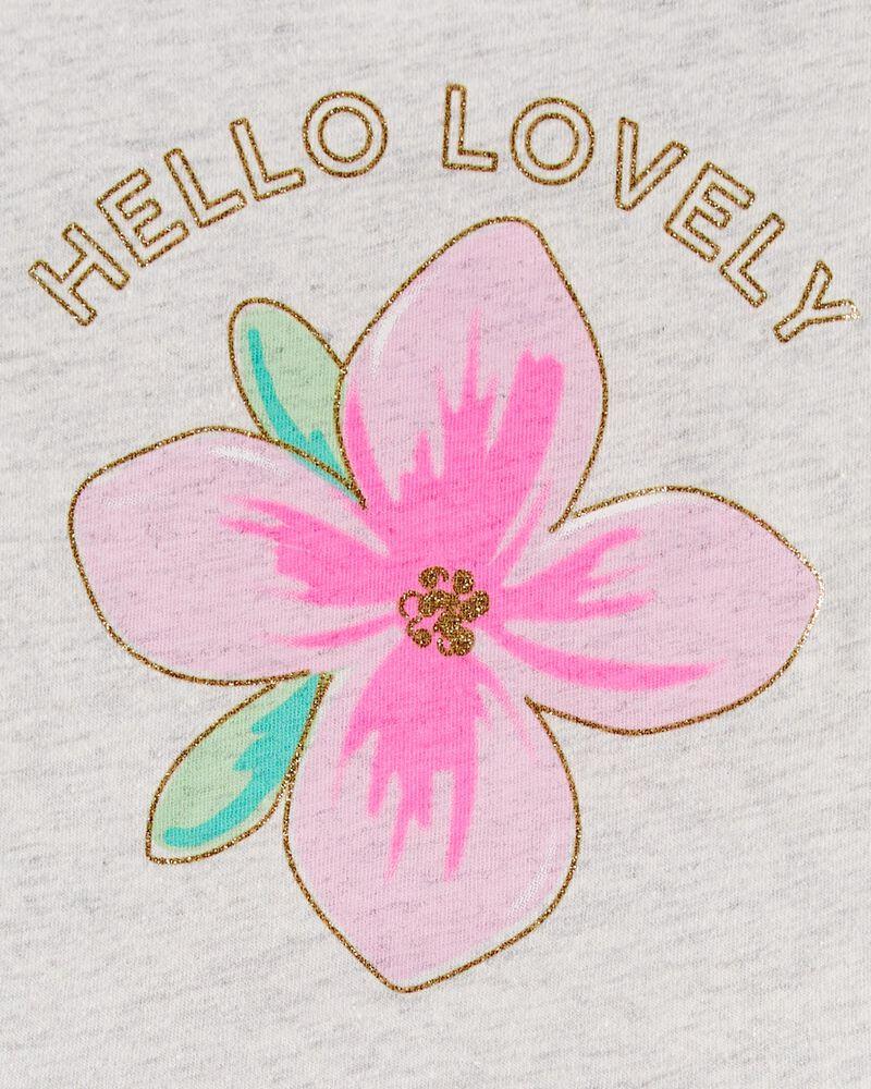 Glitter Floral Peplum Top, , hi-res