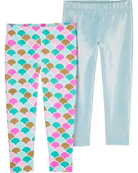 2-Pack Glitter Mermaid Leggings