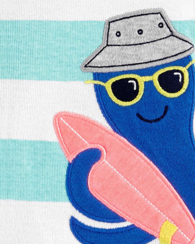 Octopus Snap-Up Cotton Romper, , hi-res