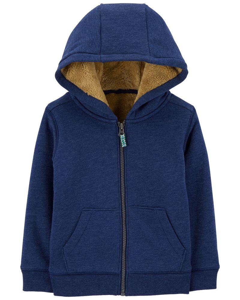 Zip-Up Fuzzy-Lined Jacket, , hi-res