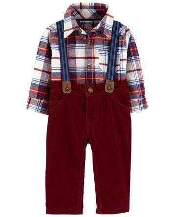 2-Piece Plaid Fleece Bodysuit & Sus...