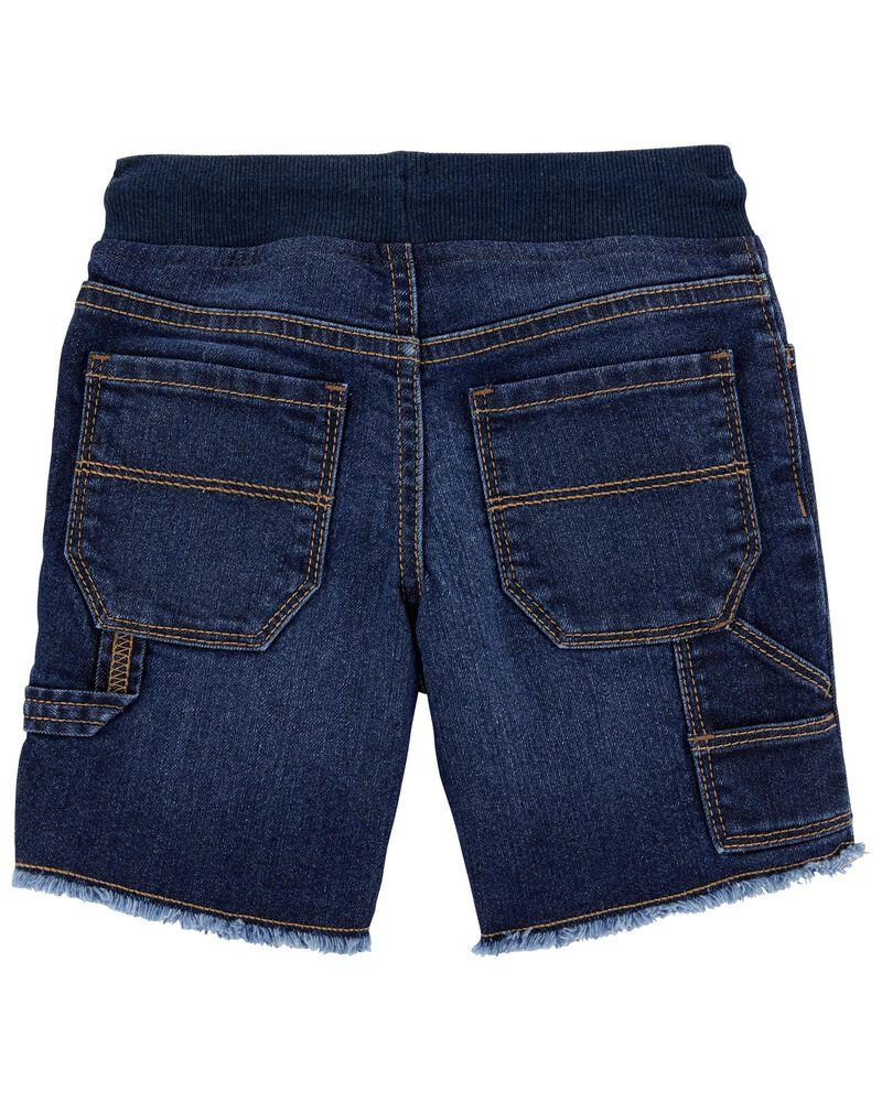 Short à enfiler en tricot de denim à revers effilochés, , hi-res