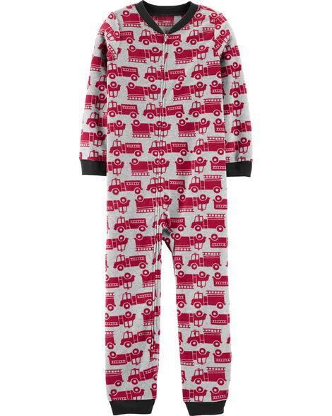 Pyjama 1 pièce en molleton sans pieds camion d'incendie