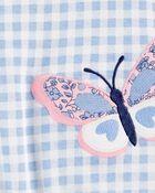 Barboteuse en coton à papillons, , hi-res