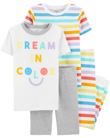 Pyjamas 4 pièces en coton ajusté Dream in Color
