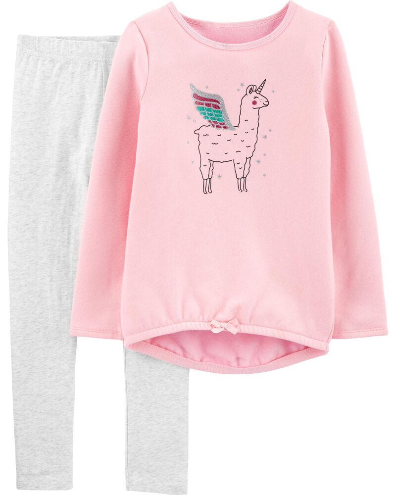 2-Piece Llama Fleece Top & Legging Set, , hi-res