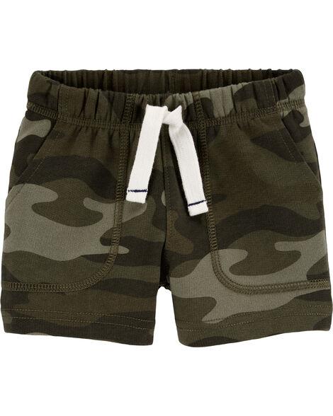 Short à enfiler en jersey bouclette camouflage