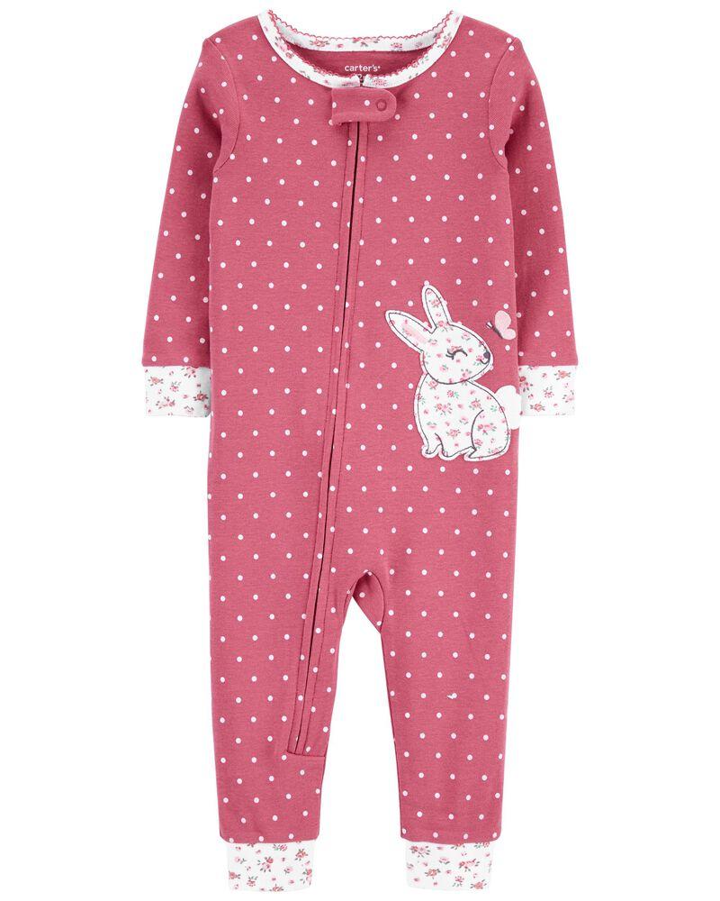 1-Piece Bunny 100% Snug Fit Cotton Footless PJs, , hi-res