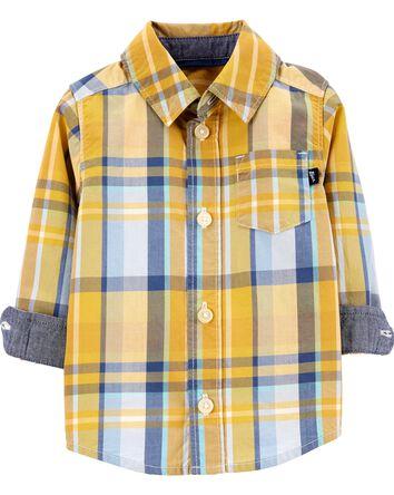 Plaid Button-Front Shirt