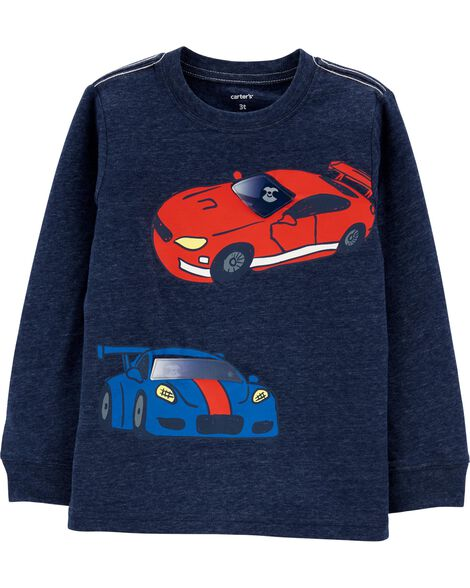 Sloth Race Cars Action Graphic Snow Yarn Tee
