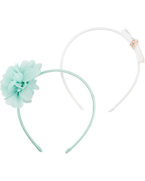 2-Pack Plume & Bow Headbands