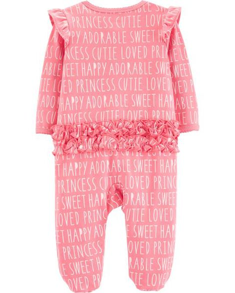 Slogan Zip-Up Cotton Sleep & Play