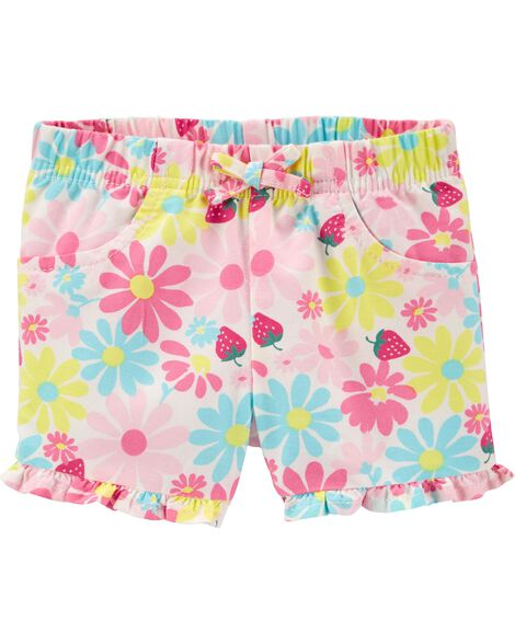 Floral Pull-On Twill Shorts