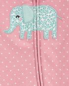 Grenouillère en coton pour dormir et jouer à glissière 2 sens et éléphant, , hi-res