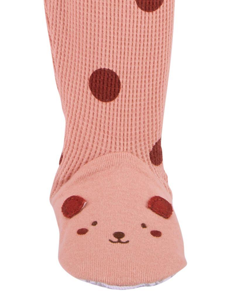 Pyjama 1 pièce à pieds et pois en coton ajusté , , hi-res