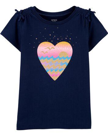 Glitter Waves Heart Jersey Tee