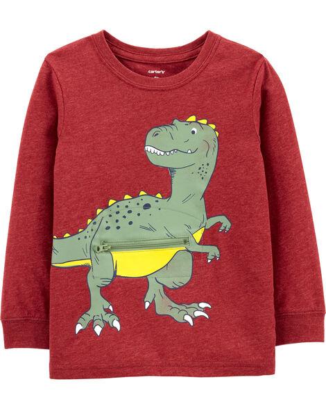 Dinosaur Peek-A-Boo Snow Yarn Tee