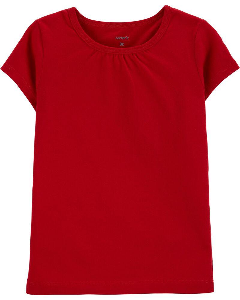 T-shirt en coton rouge, , hi-res