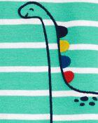 Pyjama 1 pièce à pieds en coton ajusté à motif dinosaure, , hi-res