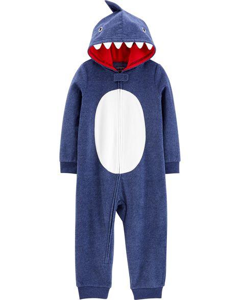 1-Piece Shark Hooded Fleece Footless PJs