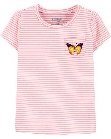 Butterfly Striped Pocket Tee