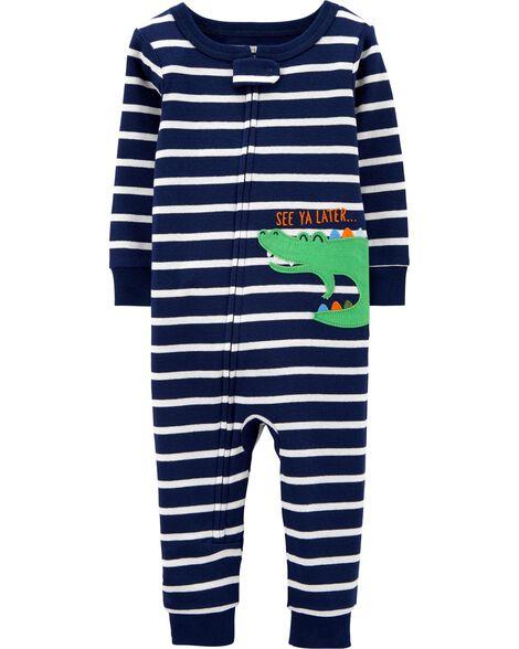 Pyjama 1 pièce à pieds en coton ajusté rayé à motif d'alligator