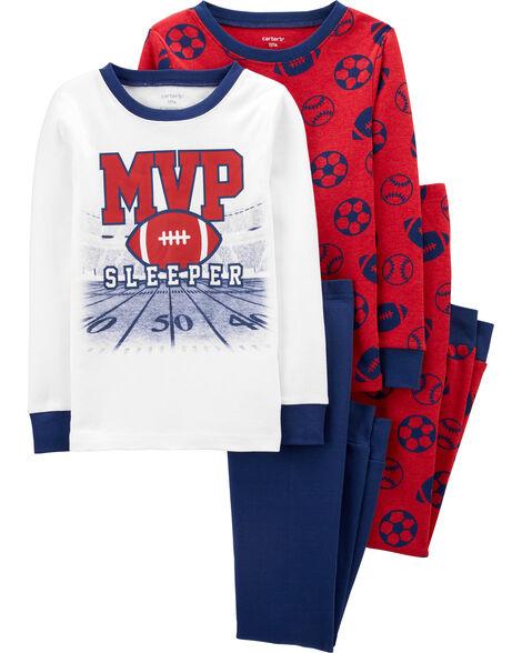 Pyjamas 4 pièces en coton ajusté à football
