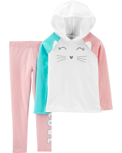2-Piece Cat French Terry Hoodie & Legging Set