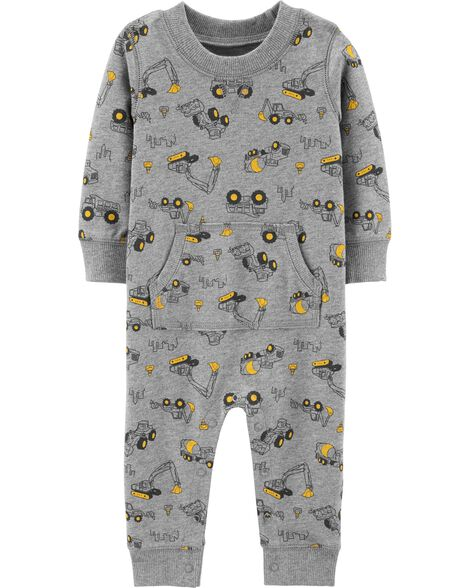 Construction Truck French Terry Jumpsuit