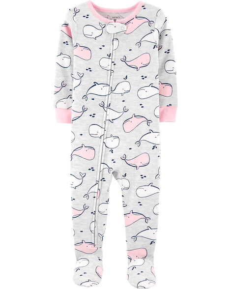 Pyjama 1 pièce avec pieds en coton ajusté à motif baleine