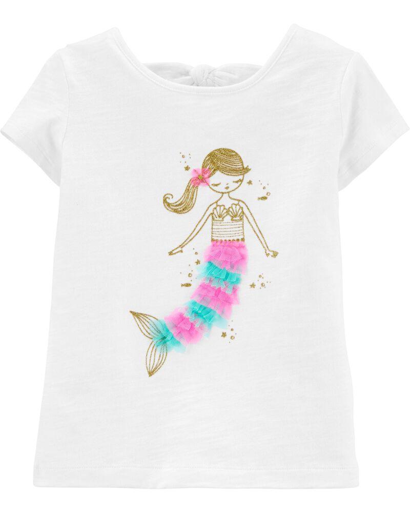 T-shirt avec nœud au dos et sirène scintillante, , hi-res