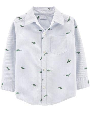 Chemise boutonnée rayée avec dinosa...
