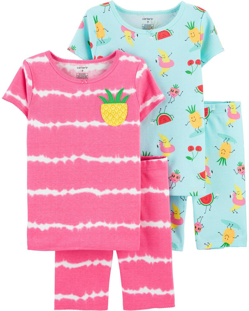4-Piece Pineapple 100% Snug Fit Cotton PJs, , hi-res