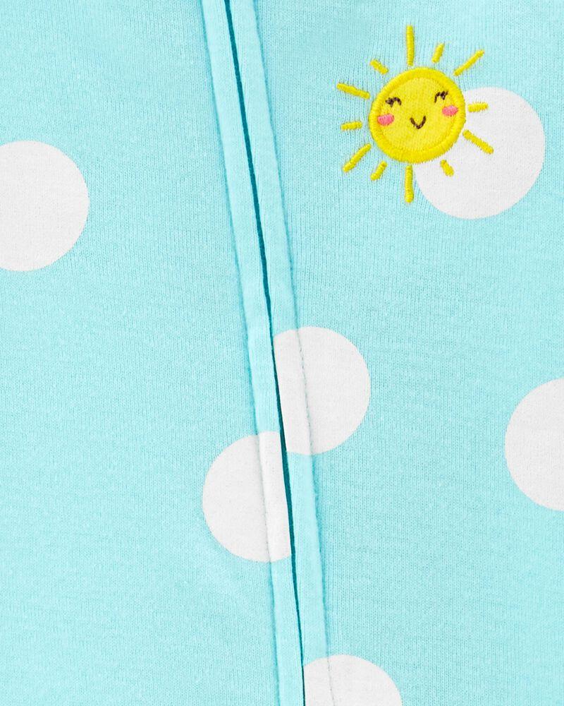 Grenouillère sans pieds en coton à glissière 2 sens motif de soleil, , hi-res