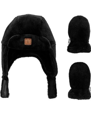 Kombi Plush Aviator Hat & Mitt Set