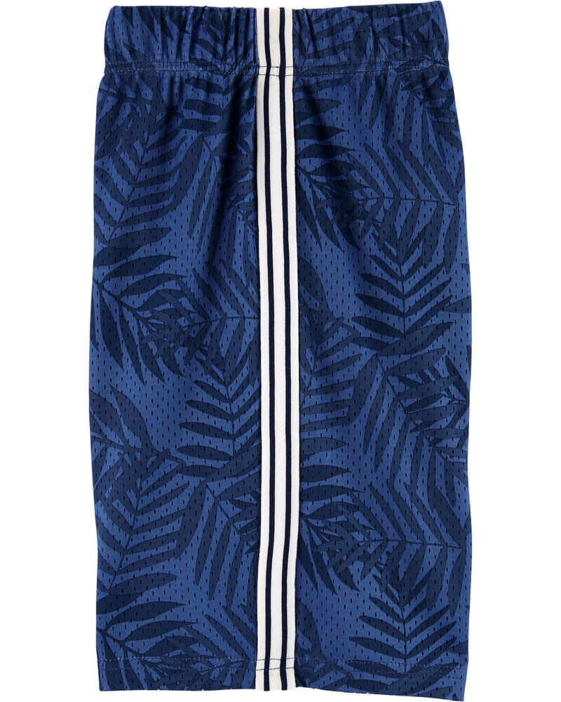 Palm Leaf Mesh Basketball Shorts, , hi-res
