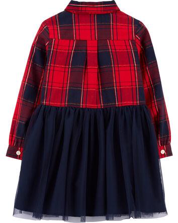 Sparkle Plaid & Tulle Dress