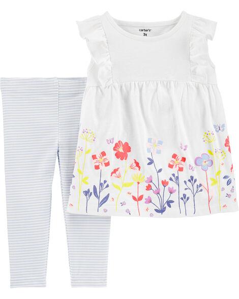 2-Piece Floral Slub Top & Striped Legging Set