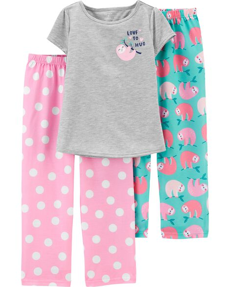 3-Piece Sloth Poly PJs