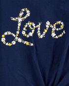 T-shirt en jersey fleuri et nœud devant Love, , hi-res