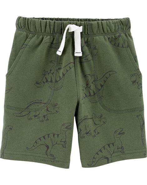 Short à enfiler en jersey bouclette à dinosaure