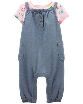 2-Piece Tee & Chambray Overall Set