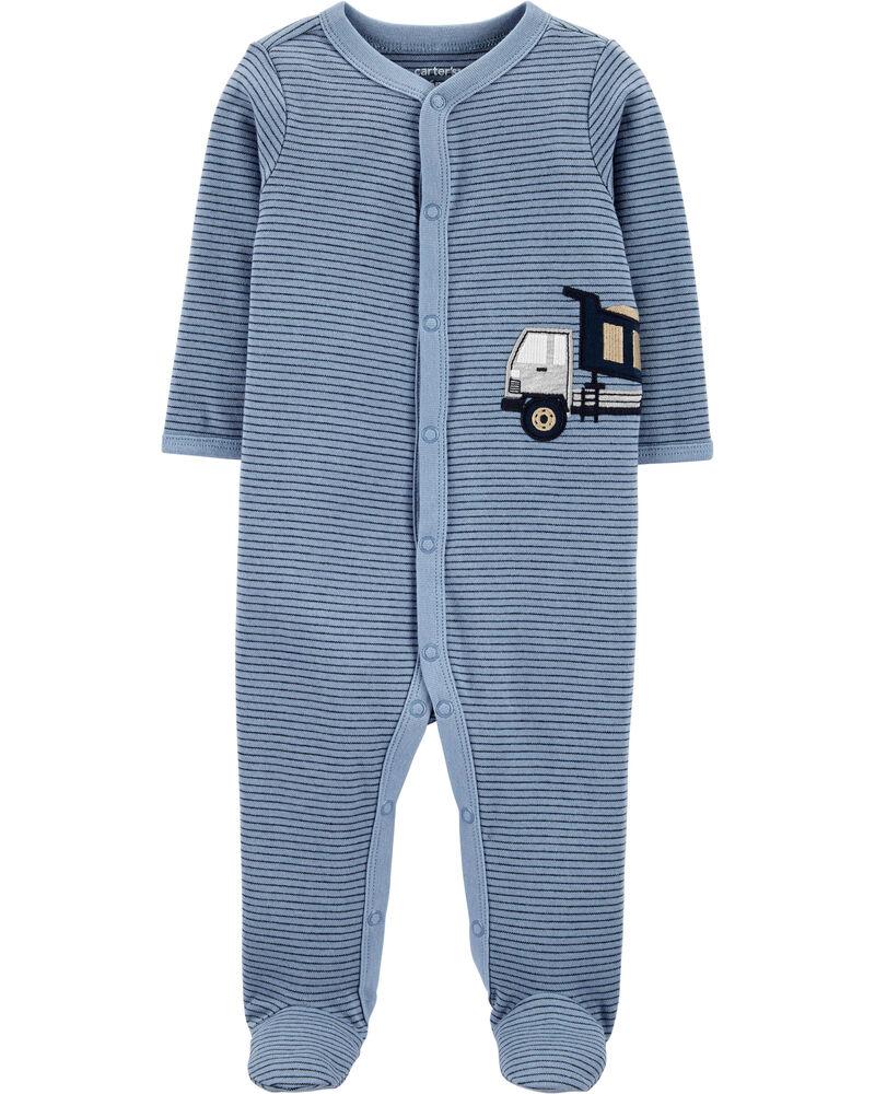 Grenouillère en coton pour dormir et jouer à boutons-pression et camion de construction, , hi-res