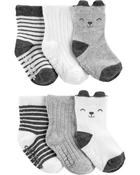 Emballage de 6 paires de chaussettes mi-mollet à rayures et animaux