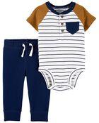 2-Piece Henley Bodysuit Pant Set, , hi-res