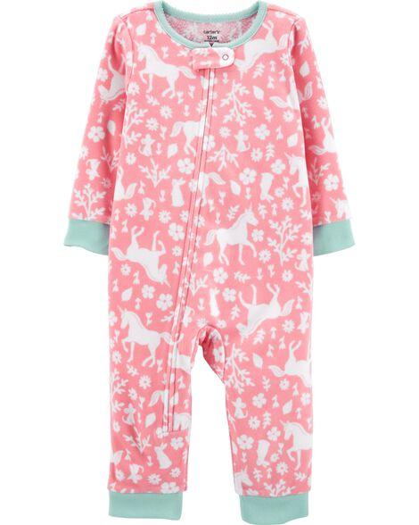 Pyjama 1 pièce sans pieds en molleton motif licorne