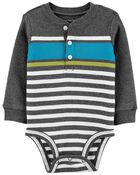 Striped Henley-Style Bodysuit, , hi-res