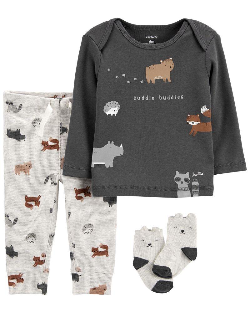 3-Piece Animal Print Tee & Pants Set, , hi-res